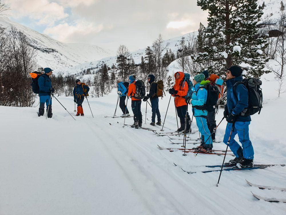 skiløpere, snø, skispor, vintertur