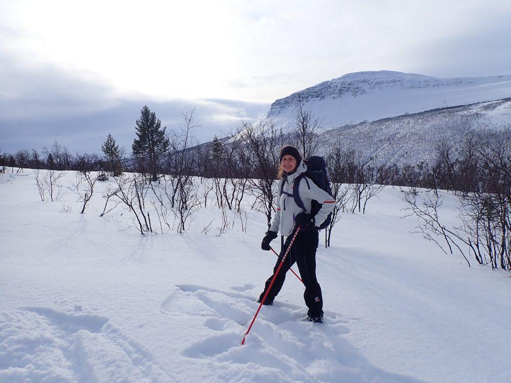 vinter, snø, skiløper, tur, vidde, dame